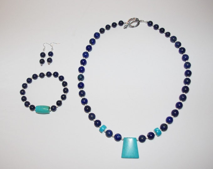 925 Gemstone Necklace SET - Lapis and Turquoise - One of a Kind - S2348