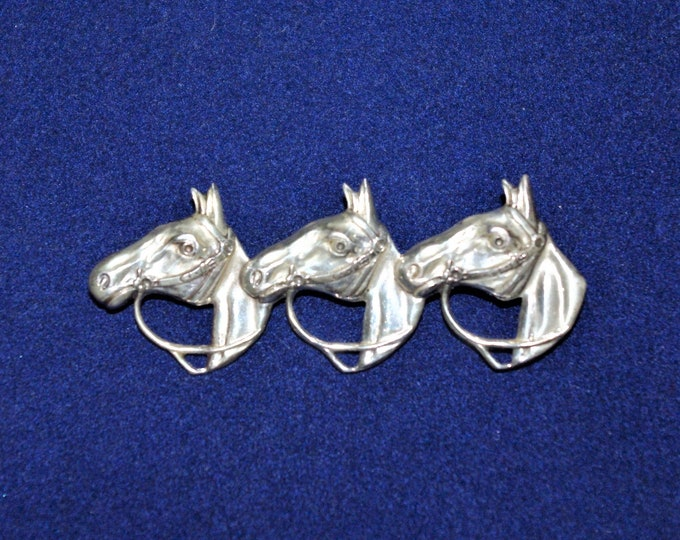Sterling Silver Brooch - 3 Horse Heads - S3120a
