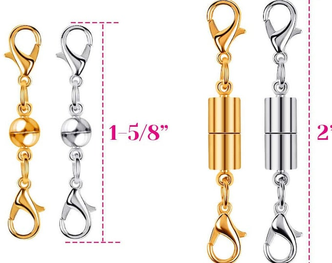 Magnetic Jewelry Clasps 2 Gold & 2 Silver - Effortless to Connect