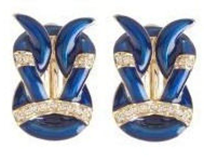 Jackie Kennedy Blue Clip On Earrings with Certificate - 12