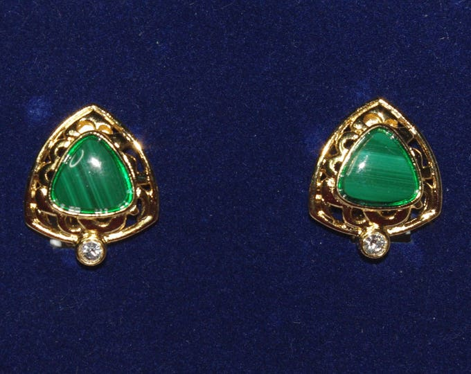 Jackie Kennedy Malachite Earrings -  Clip on | Gold Plated Metal with Stones - 306