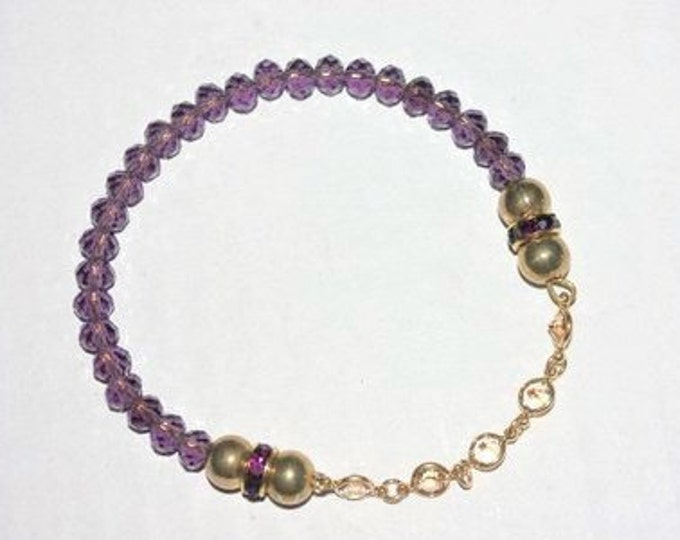 Amethyst Bracelet with Crystals, One of a Kind - S3127