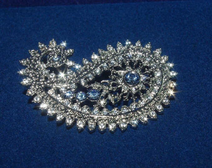 Jackie Kennedy Silver Paisley Brooch with Blue Stones - 45