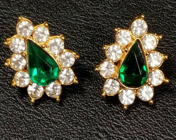 Emerald Green Pierced Earrings with Crystals - S2218