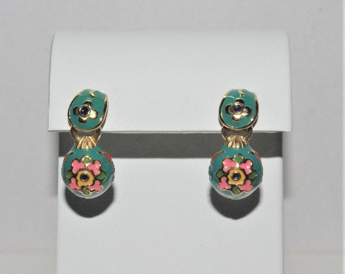 Joan Rivers Turquoise Egg Pierced Earrings - S3186