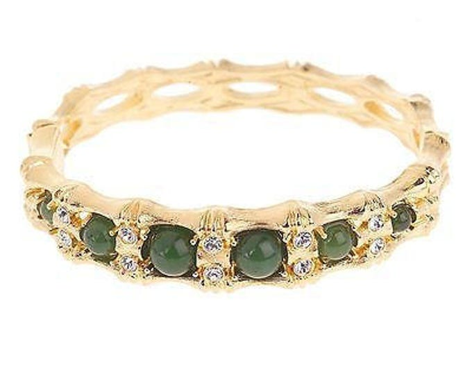 Jackie Kennedy Bracelet - Gold with Jade, Crystals and Certificate - TMS - 124