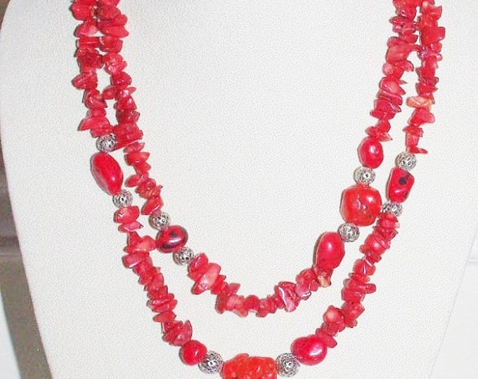 Red Coral Necklace 44 Inches Long - S2355