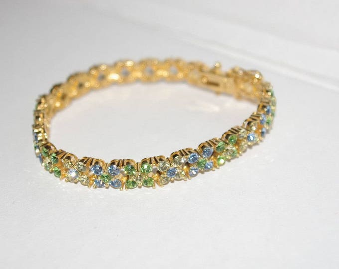 Joan Rivers Bracelet with Blue and Green Crystals - S1416
