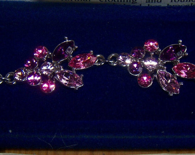 Jackie Kennedy Bracelet - Silver Plated with Pink and Purple Stones - No. 294