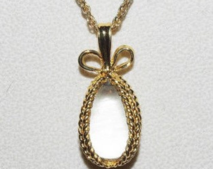 Joan Rivers Necklace with Clear Egg Pendant - S1222