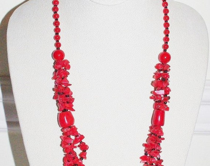 Red Coral Necklace - Multi Strand 30 Inches - S2352