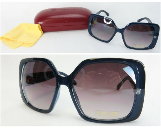RESERVED FOR KATHIE - Jackie Kennedy Sunglasses with Hard Case - Blue Square