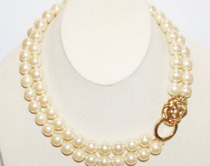 KJL Pearl Necklace with Lion Head Clasp and Earrings - Pierced - S2147