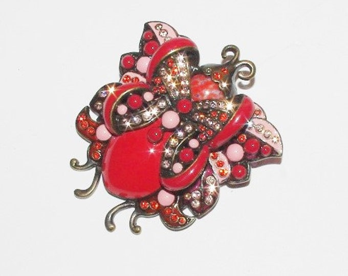 Joan Rivers Large Red June Bug Brooch - S1347