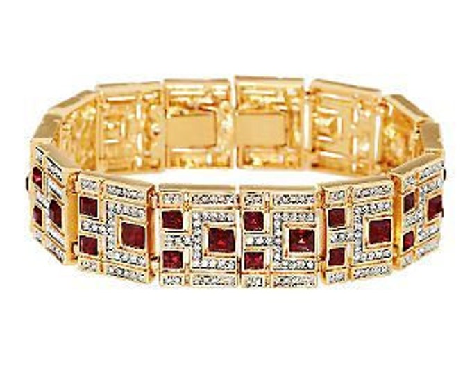 Jackie Kennedy Wide Ruby Bracelet, Gold Plated with Stones - No. 295