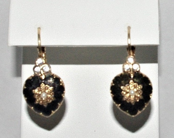 Joan Rivers Dark Green Heart Pierced Earrings - S3136