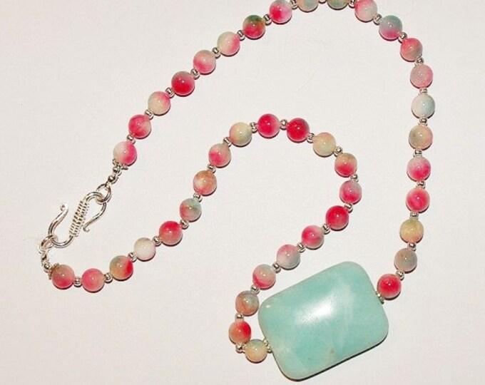 Gemstone Necklace - Kunzite Beads with Amazonite Pendant -              S249