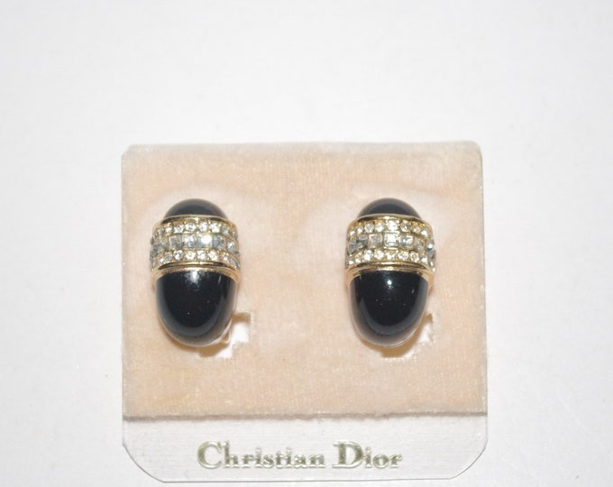 Christian Dior Black and Crystal Clip On Earrings - S3164