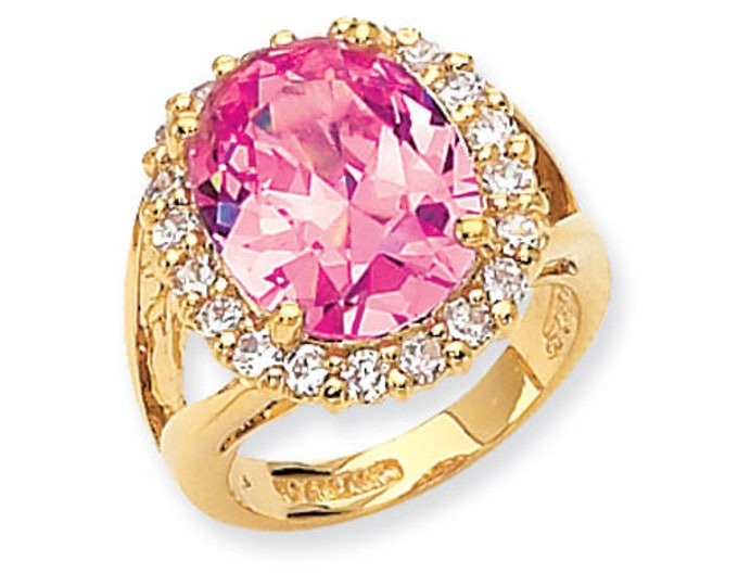 Jackie Kennedy Pink Cocktail Ring - Gold Plated and Stones, Size 6.0