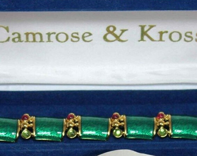 Jackie Kennedy Bracelet Green Enamel with Stones - Size 6.5 or 7.5 - S224
