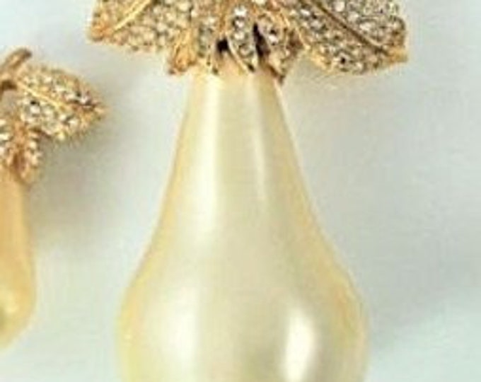 Kenneth Lane Pear Pin with Crystals - S3026