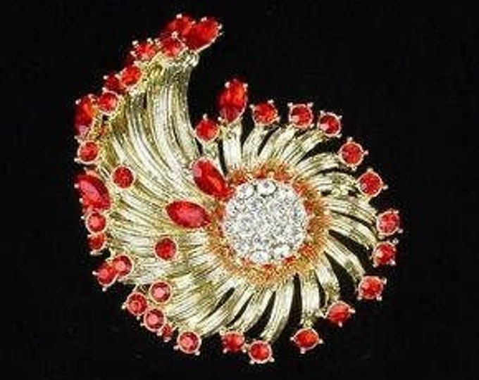 Jackie Kennedy Cornucopia Brooch with Stones - 57