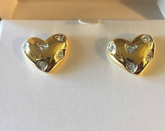 Nolan Miller Crystal Heart Pierced Earrings - S2298
