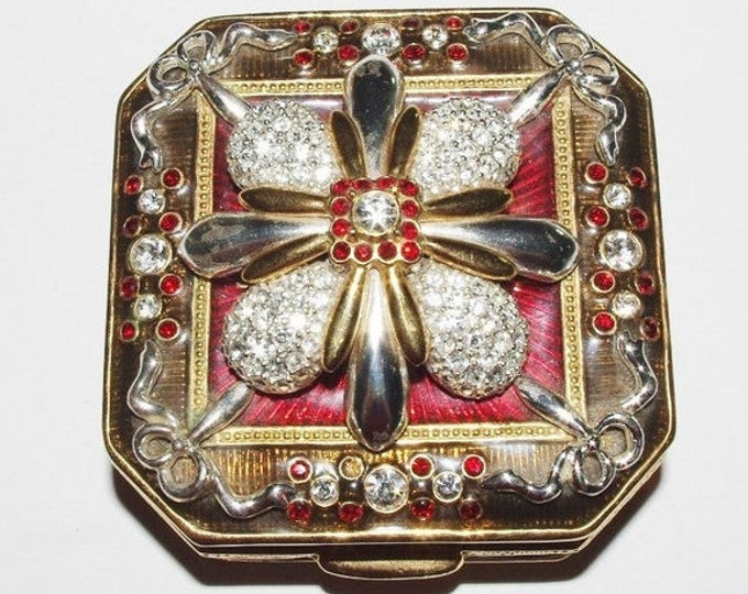 Joan Rivers TRINKET BOX with Crystal Brooch AND Earrings - S3212