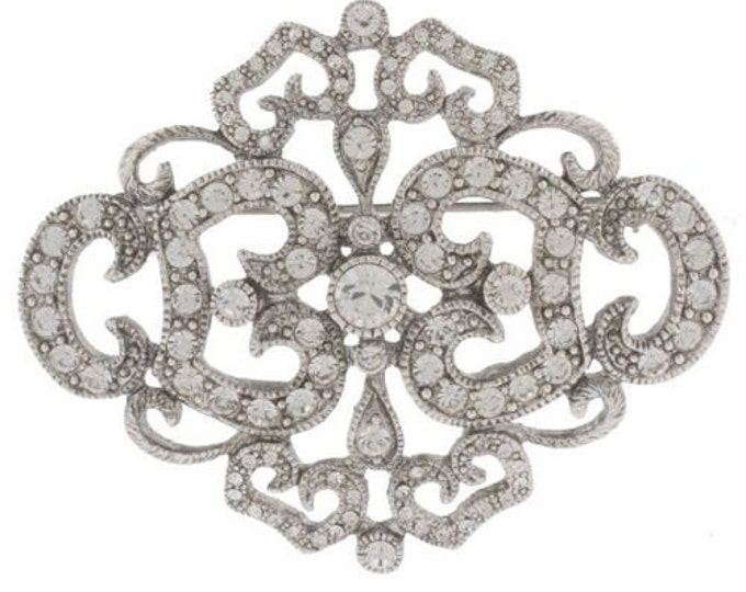 Jackie Kennedy Brooch - Silver Filigree with Crystals and Certificate - 53