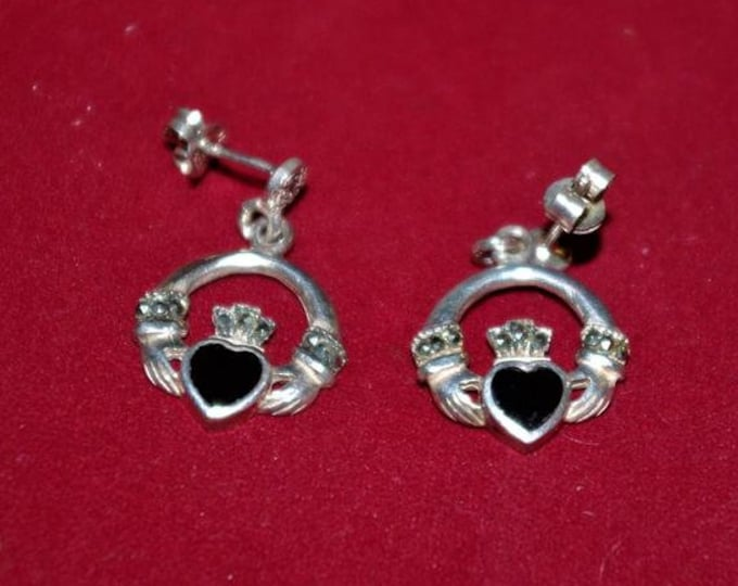 925 Irish Claddagh Heart Earrings PIERCED  - TMS1