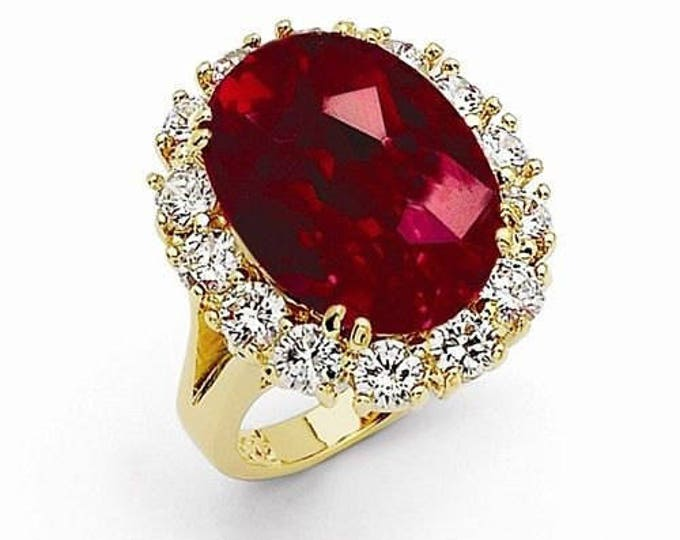 Jackie Kennedy Ruby Ring - 24K Gold Plated, Simulated Ruby and Diamonds - Size 7
