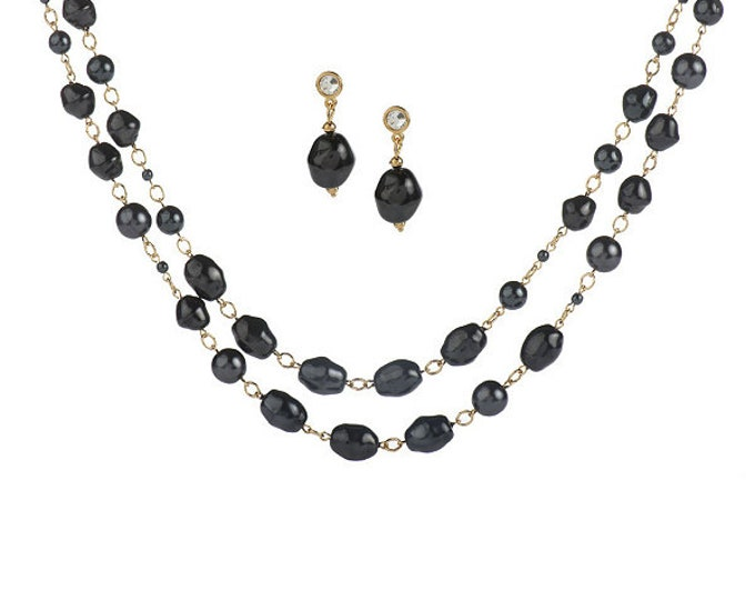 Jackie Kennedy Jewelry Set - Double Necklace & Earrings in Black Baroque Pearls with Box and Certificate