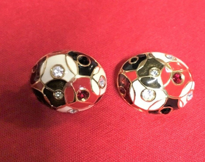 Joan Rivers Black White and Red Clip On Earrings - S3199