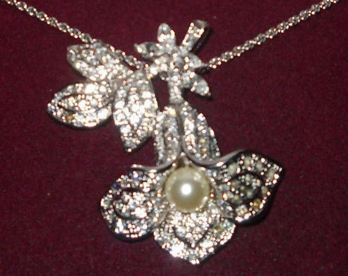 Jackie Kennedy Lily of the Valley Necklace - Silver with Crystals and Pearl - #192