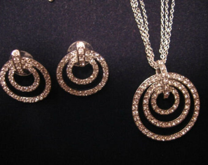 Nolan Miller Jewelry SET - Crystal Necklace and Earrings in Silver Tone - S3130