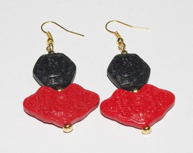 Cinnabar Pierced Earrings - Red and Black - S264