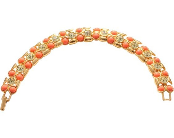 Joan Rivers Coral Bracelet with Crystals - S3243