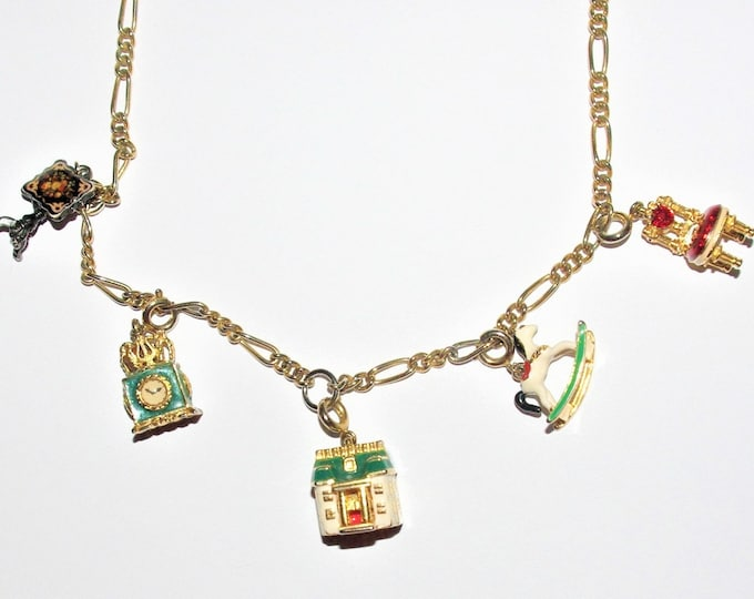 Joan Rivers Dollhouse Charm Necklace   Add-on Starter Necklace with 5 Charms