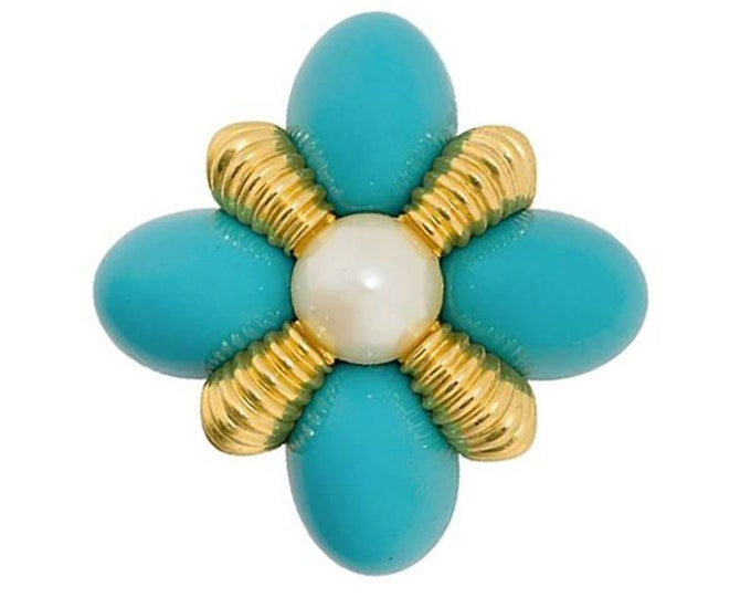Joan Rivers Turquoise Pin with Pearl Center - S3245