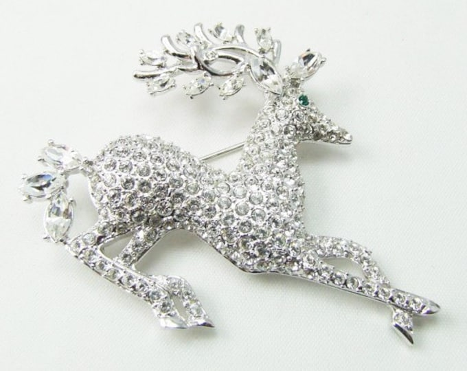 Nolan Miller Reindeer Brooch in Silver Tone with Pave Crystals - S1364