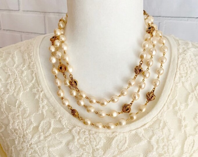 Joan Rivers Pearl Necklace with Gold Tone Knots 60 Inches Long - S3193