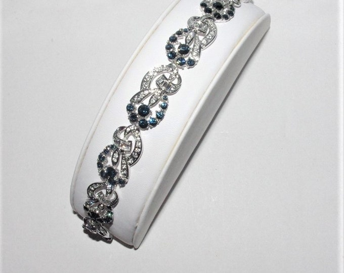 Jackie Kennedy Bracelet - Silver with Simulated Sapphires and Certificate - Sizes 7 and 8 - 115