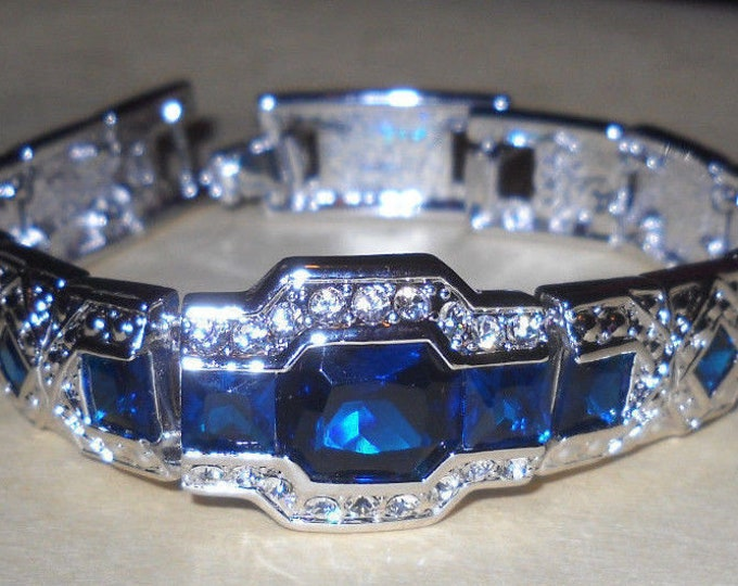Jackie Kennedy Art Deco Bracelet - Silver, Blue and Clear Stones, Box and Certificate - S3206