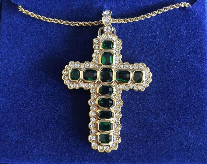 Jackie Kennedy Emerald Cross Necklace with Certificate