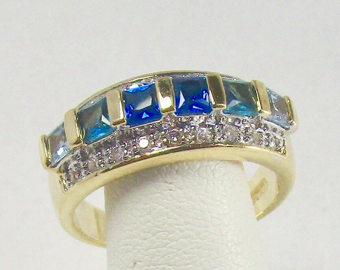 Jackie Kennedy Ring | SHADES OF BLUE | Gold Plated and Stones | Size 6.0