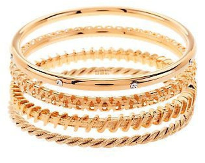 50% OFF - Set of 4 Jackie Kennedy Gold Bangle Bracelets - 8 Inches
