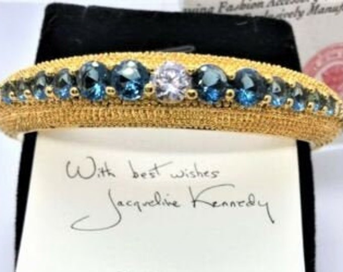 Jackie Kennedy Bold Sapphire Bracelet - Gold with Stones - 315 tms1