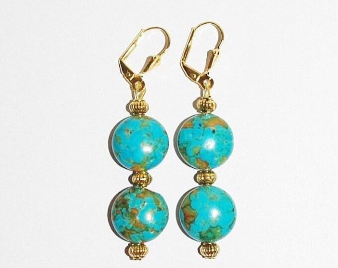 Gemstone Earrings - Mosaic Magnesite Turquoise Leverbacks - S329