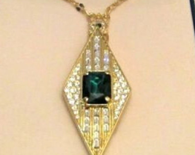 JBK Emerald Pin Pendant Necklace with Certificate and Box
