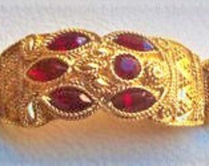 Jackie Kennedy Ruby Bracelet - Gold Plated with Stones - Size 7 - No. 71